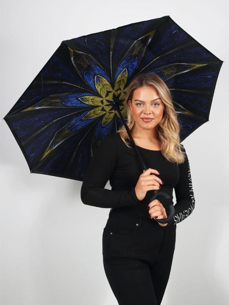 Cilento Woman Reverse Fold Umbrella Navy Circling Flowers