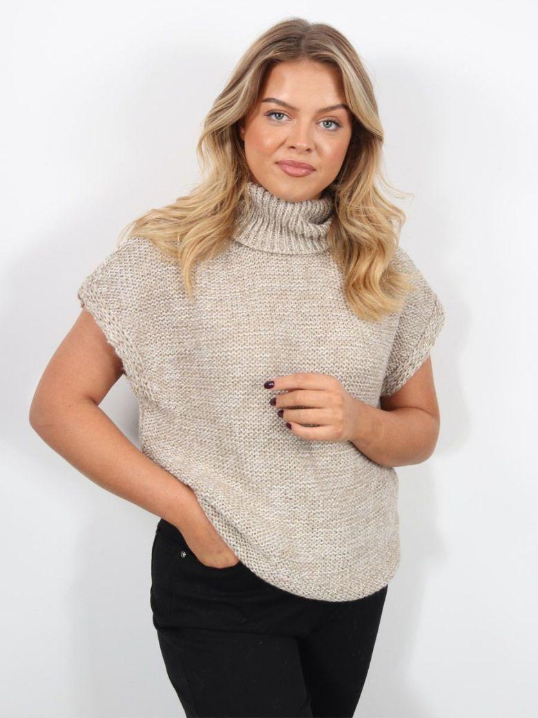 Cilento Woman Roll Neck Sleeveless Sweater Beige