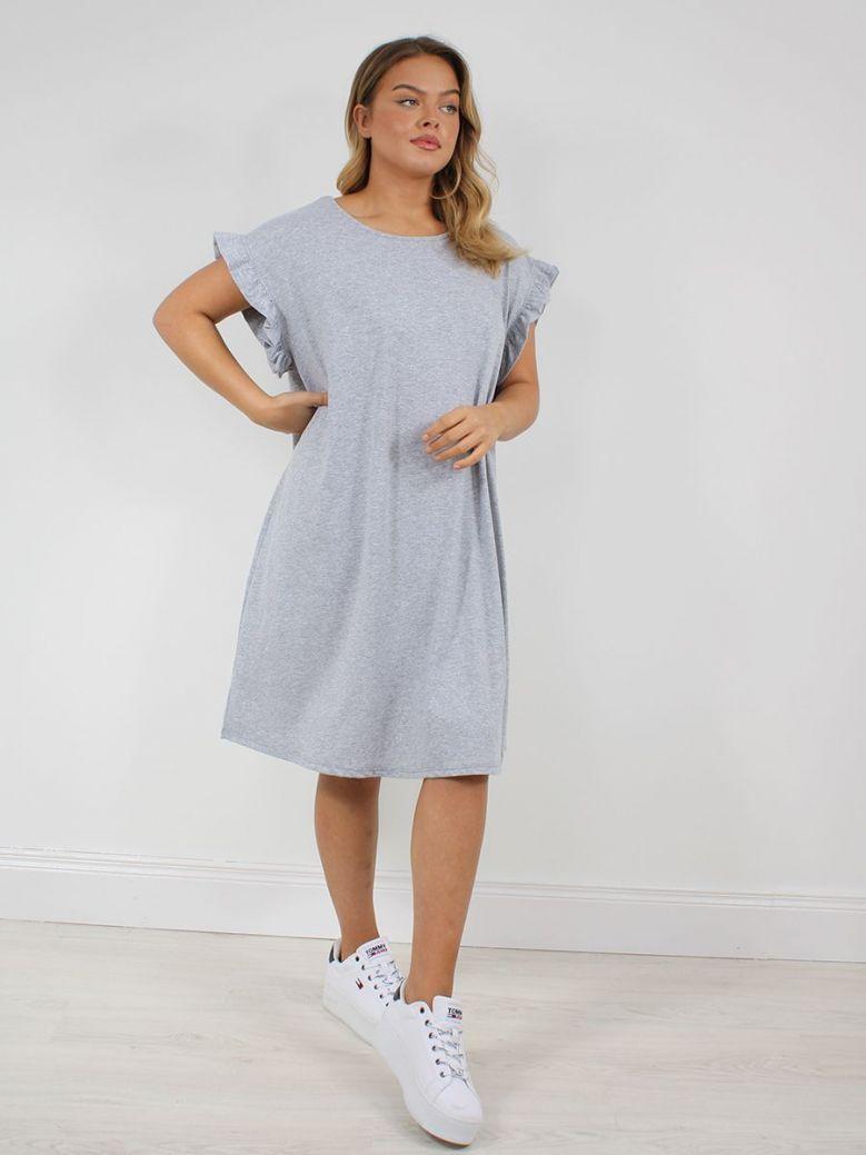 Cilento Woman Ruffle Sleeve Dress Grey