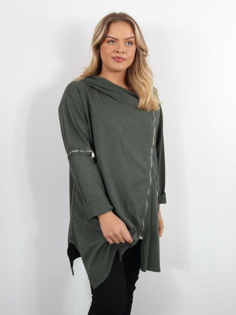 Cilento Woman Side Zip Hoody Green