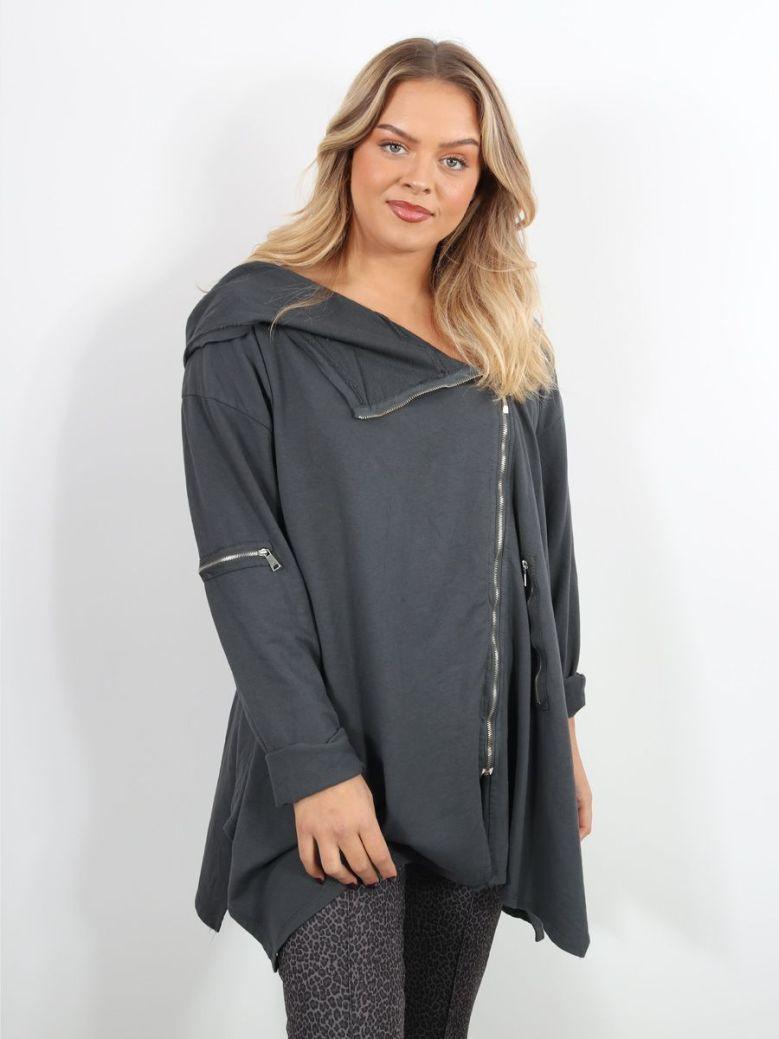 Cilento Woman Side Zip Hoody Grey