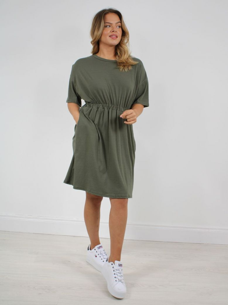 Cilento Woman T-Shirt Dress Khaki Green