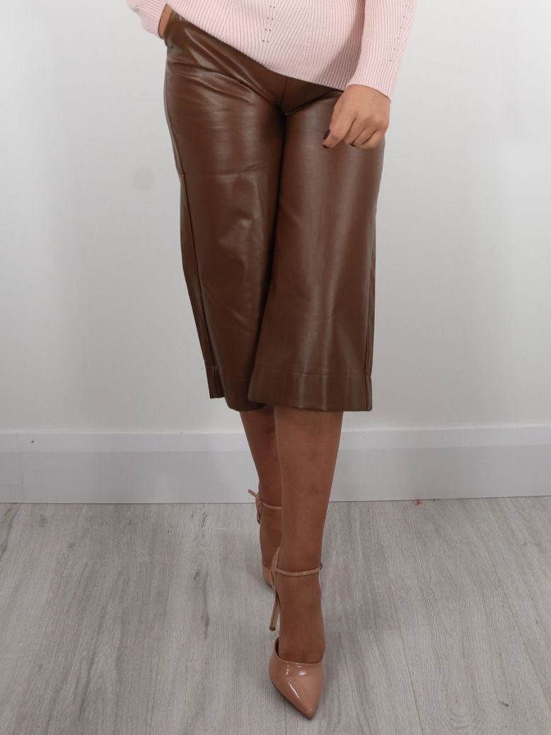 Cilento Woman Wide Leg Culottes Camel