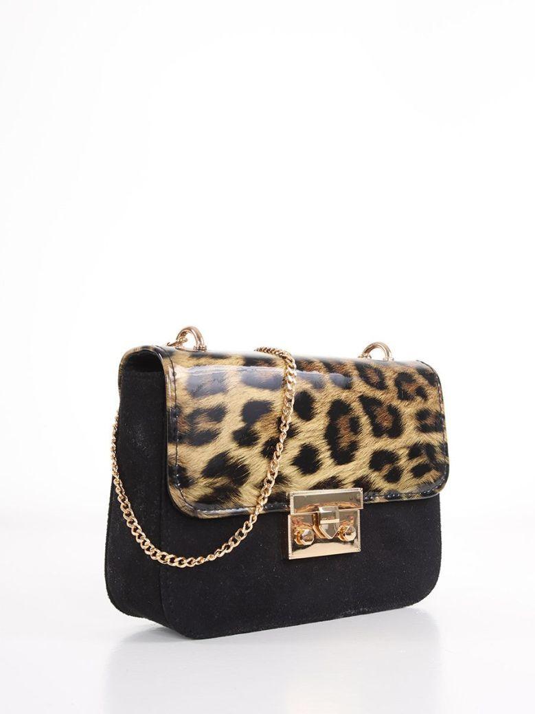 Cilento Woman Leopard Print Clutch Bag Black