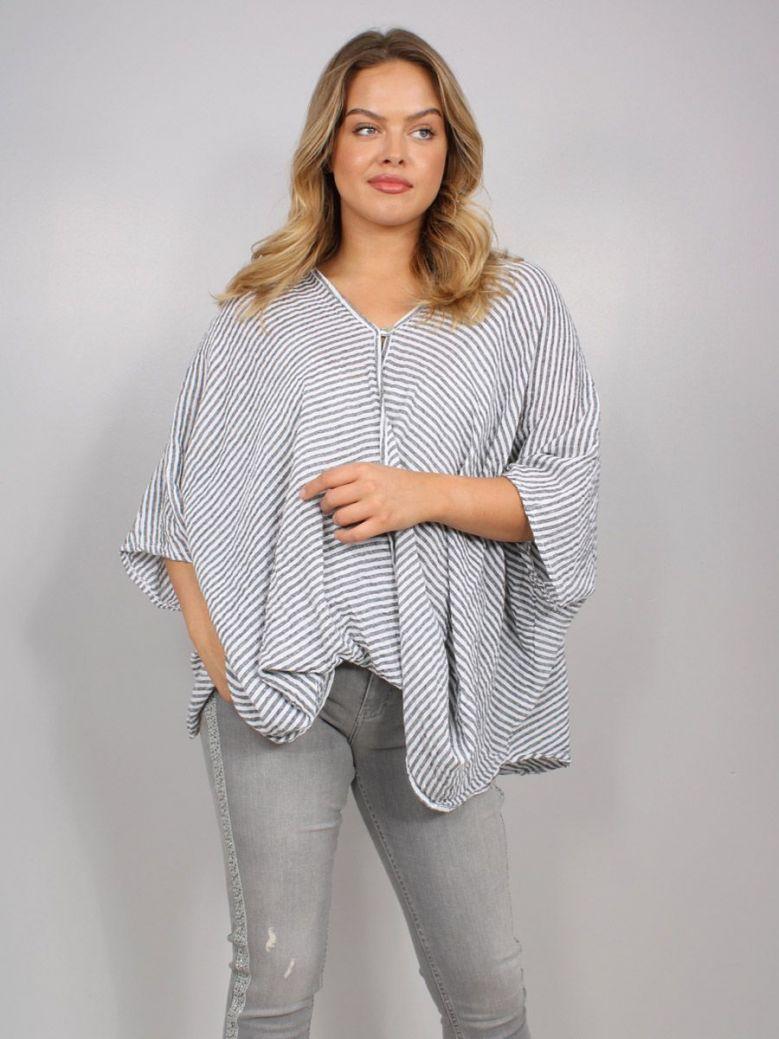 Cilento Women Button Top Grey