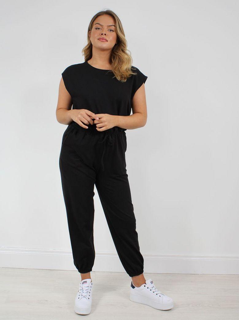 Cilento Women Cap Sleeve Jumpsuit Black