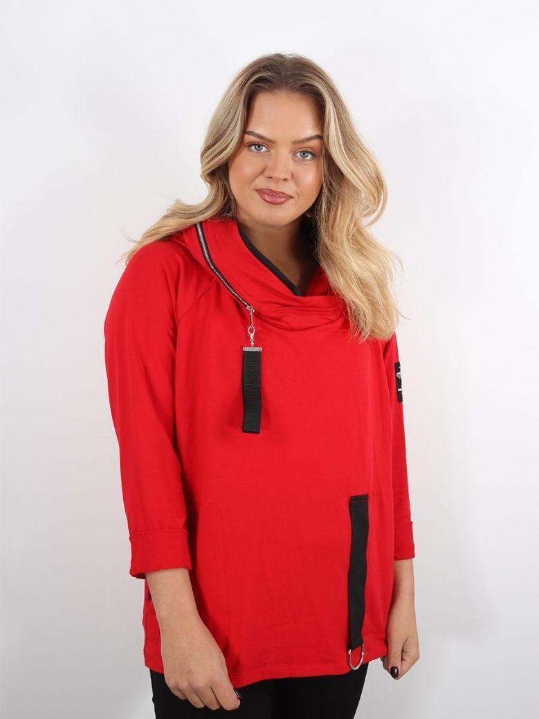 Cilento Women Zip Detail Hoody Red