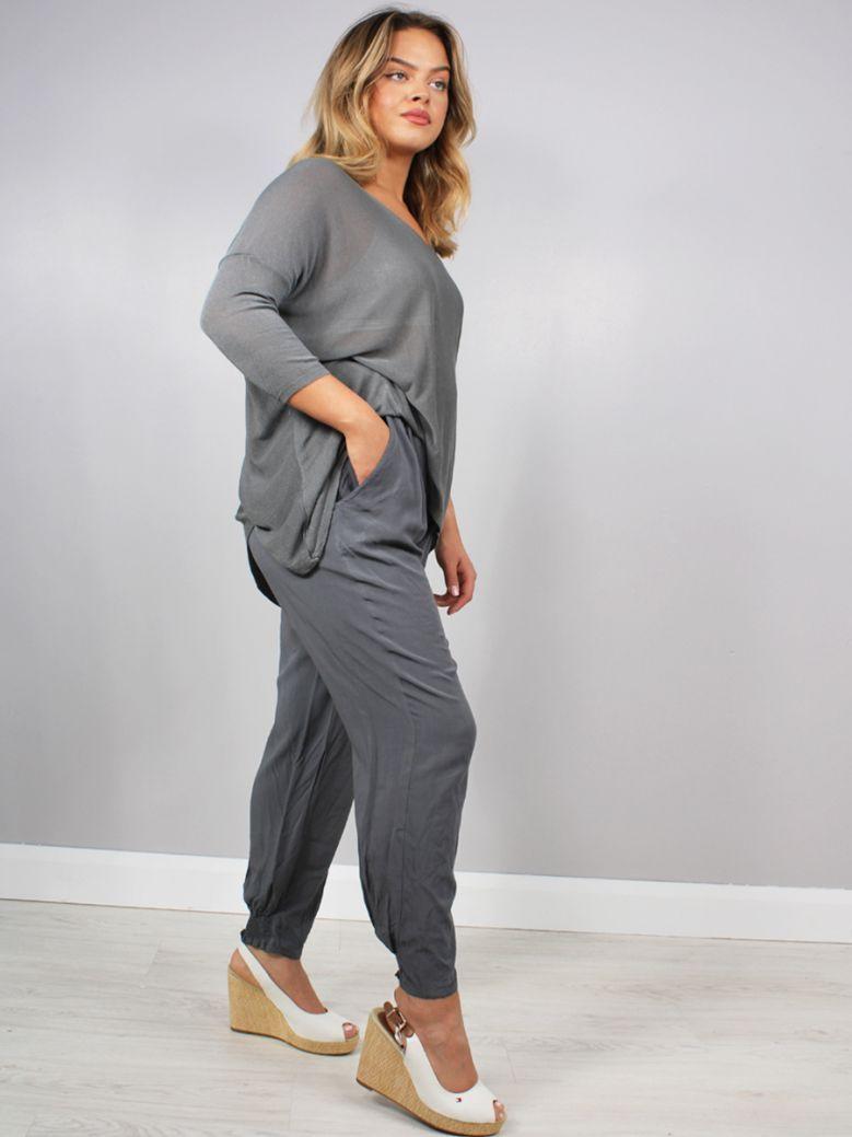 Cilento Women Elasticated Waist Trouser Gray