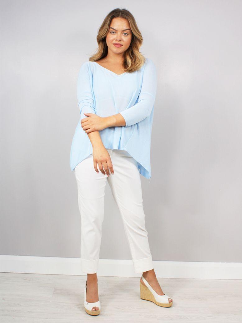 Cilento Women Fine Knit Top Blue