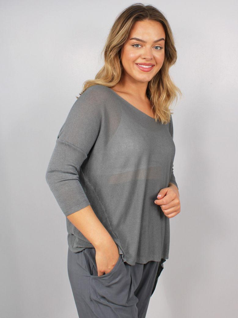 Cilento Women Fine Knit Top Grey