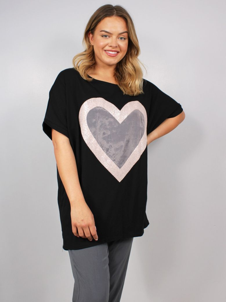 Cilento Women Heart Detail Top Black