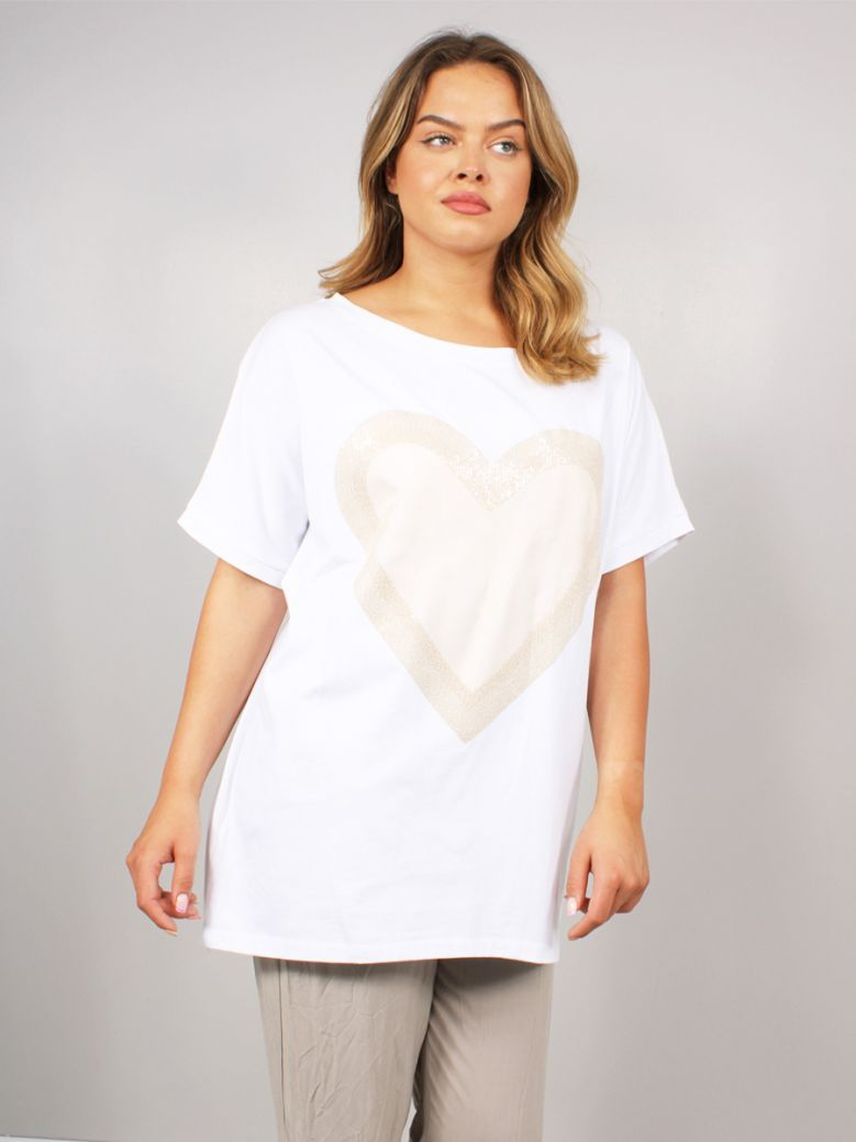 Cilento Women Heart Detail Top White and Gold