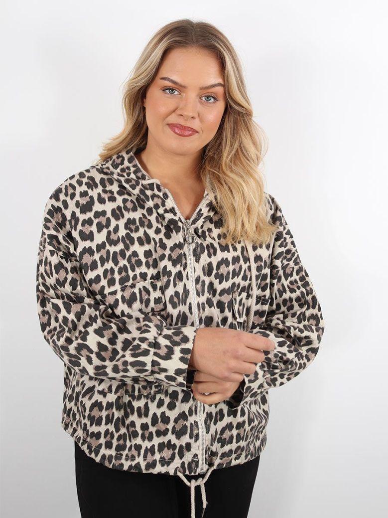 Cilento Women Leopard print Jacket Beige