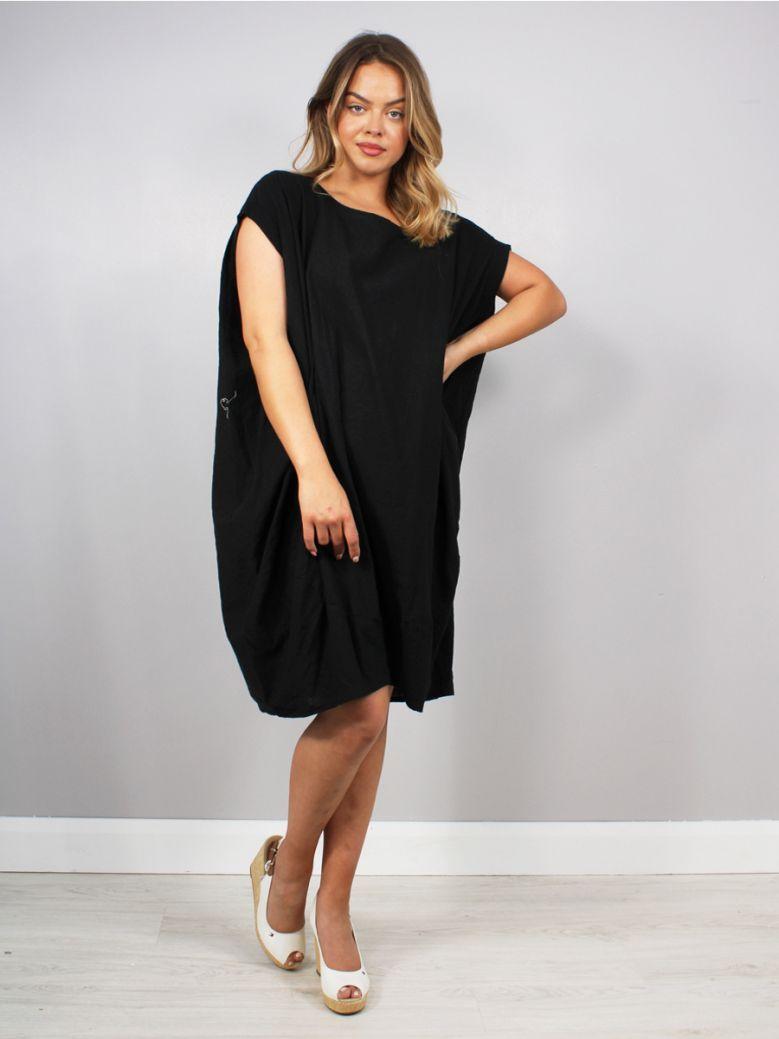 Cilento Women Linen Dress Black