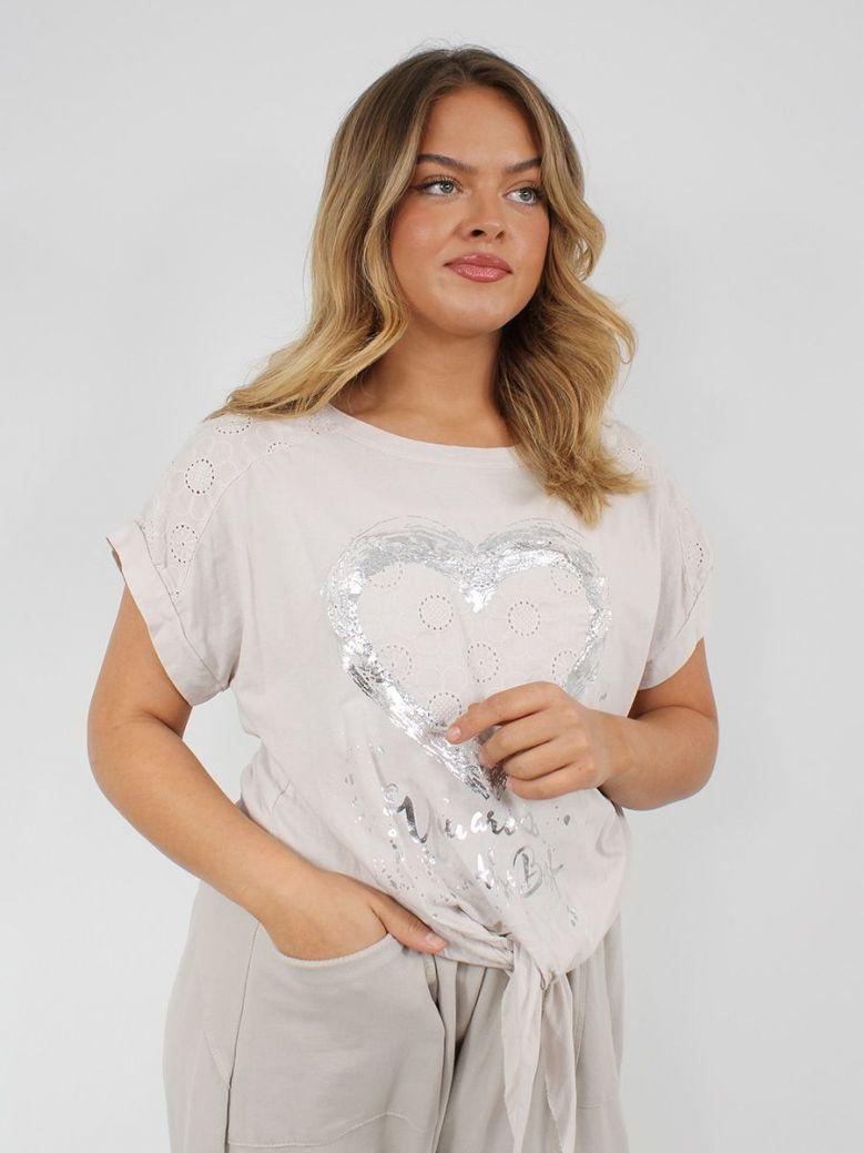 Cilento Women Silver Heart Detail Top Beige