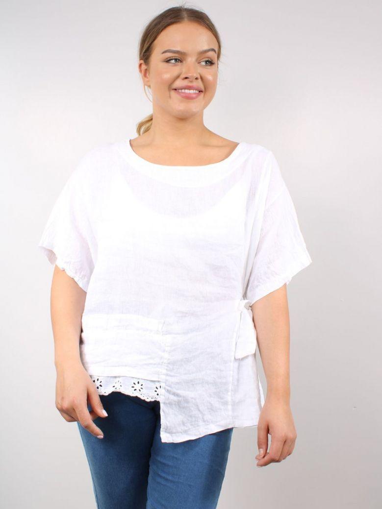 Cilento Woman Linen Top White