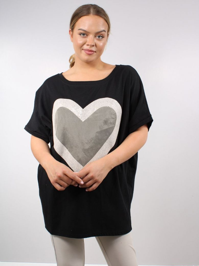 Cilento Women Heart Detail Top Black and Gold