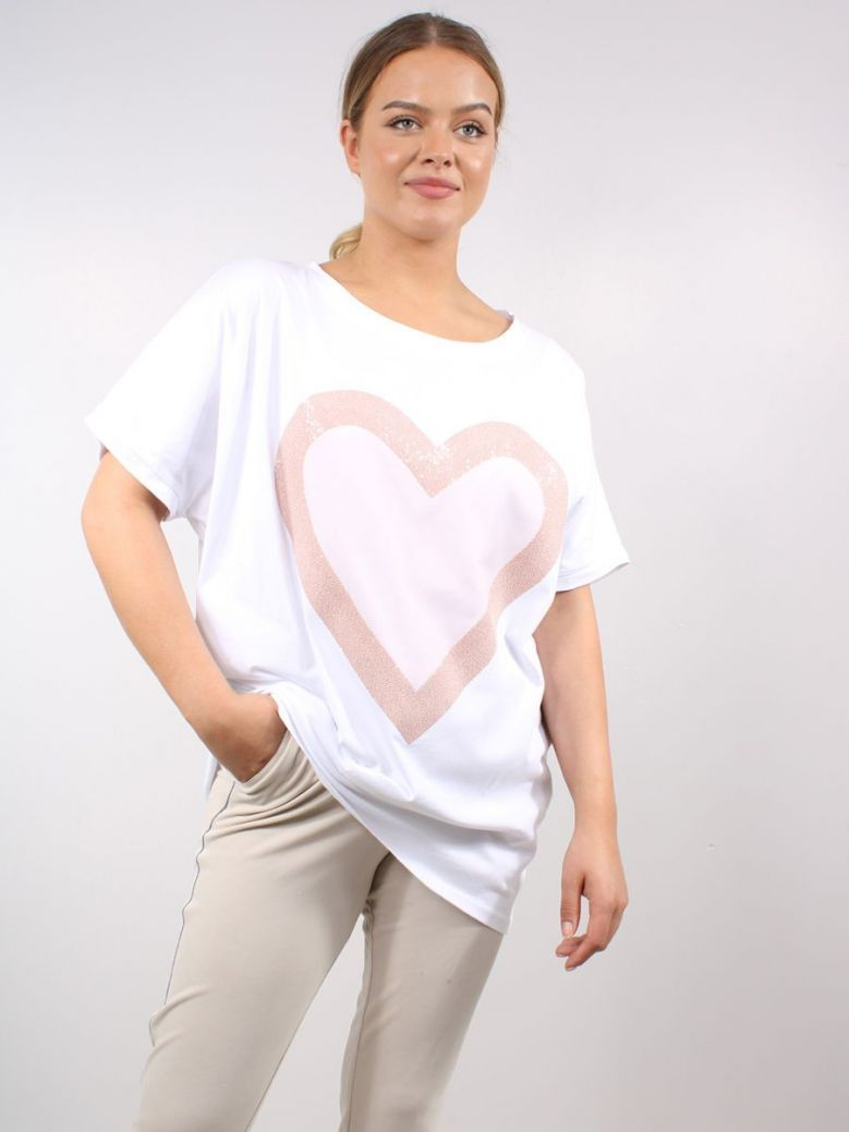 Cilento Women Heart Detail Top White and Pink