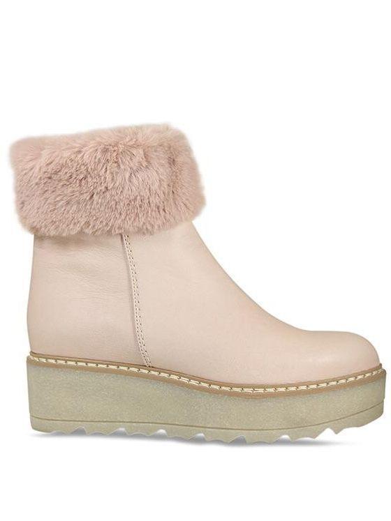 Lisa Kay Pale Pink Leather Flatform Fur Trim Boots