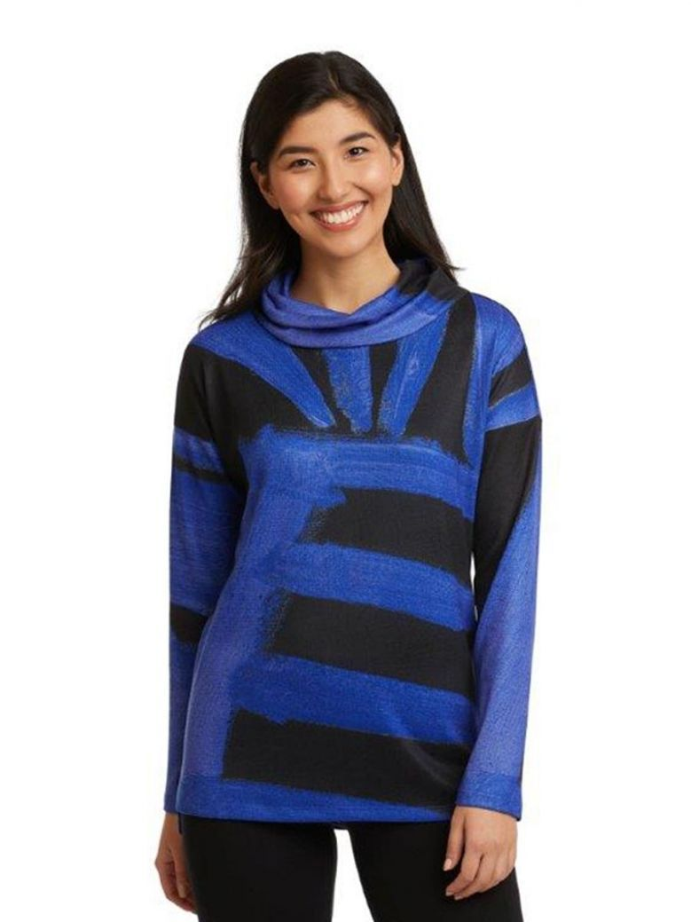 Claire Desjardins Midnight Long Sleeve Cowl Neck Top Blue