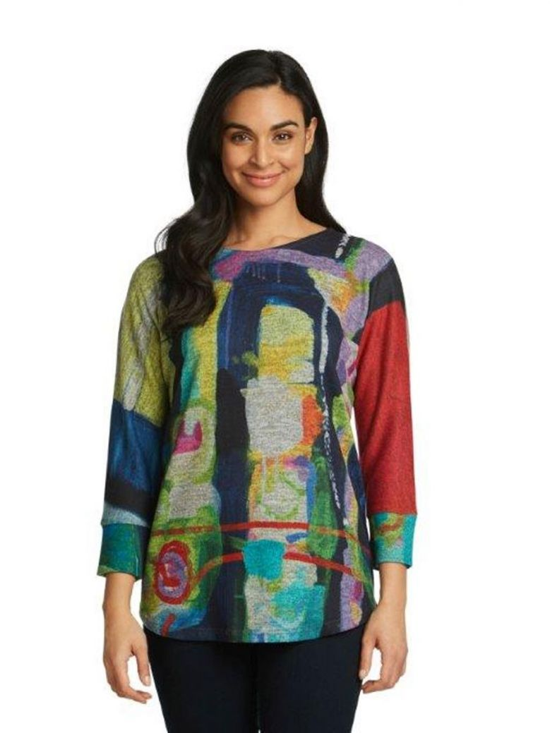 Claire Desjardins Work It Out 3/4 Sleeve Knit Top Multi