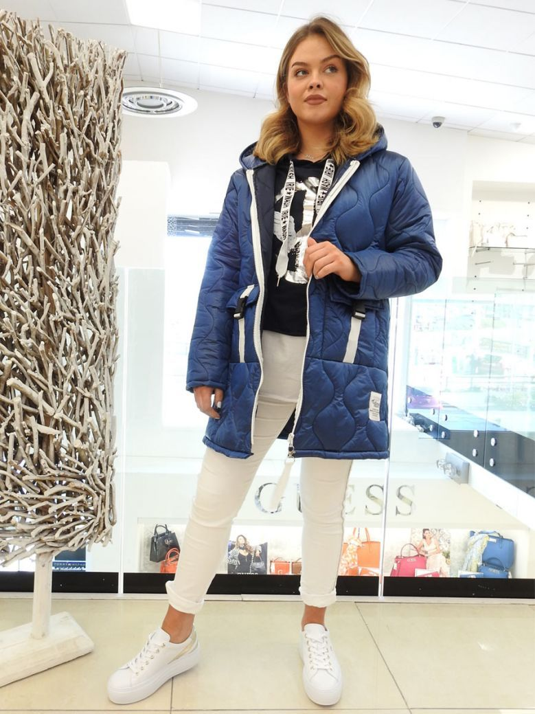 Cilento Woman Navy Quilted Coat
