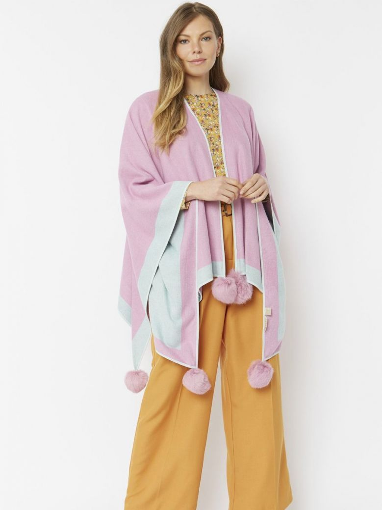 Jayley Pink Luxury Reversible Cashmere Blend and Coney Fur Pom Pom Wrap