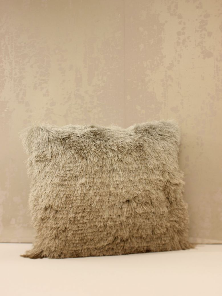 Fluffy Beige Silver Ombre Cushion