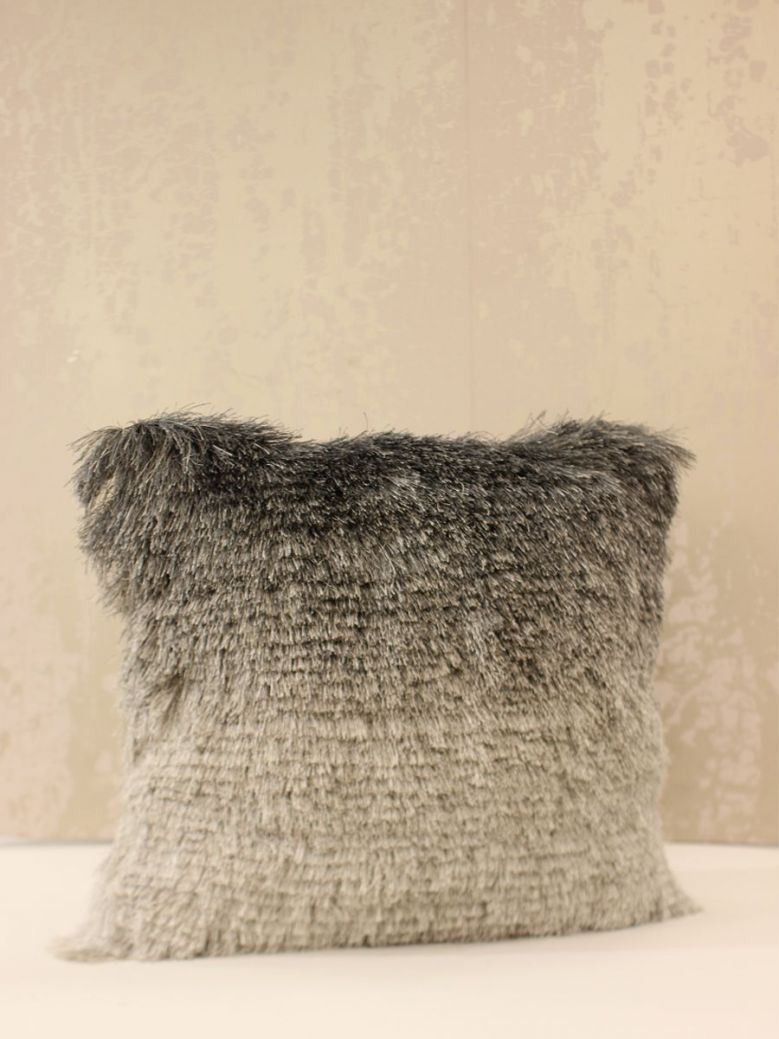 Fluffy Charcoal Silver Ombre Cushion