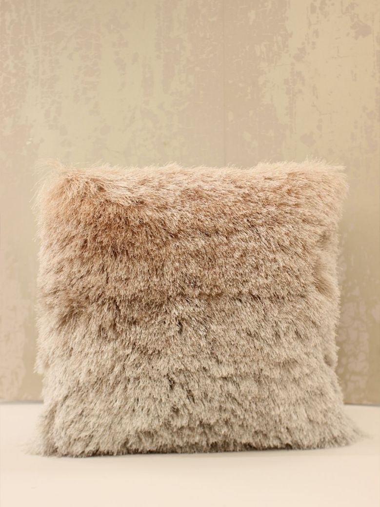 Fluffy Blush Pink Silver Ombre Cushion