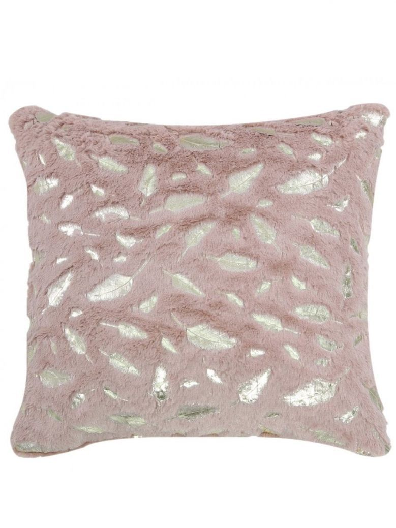 Faux Fur Pink And Gold Feather Cushion