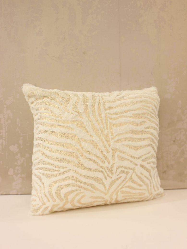 Faux Fur White And Gold Zebra Cushion