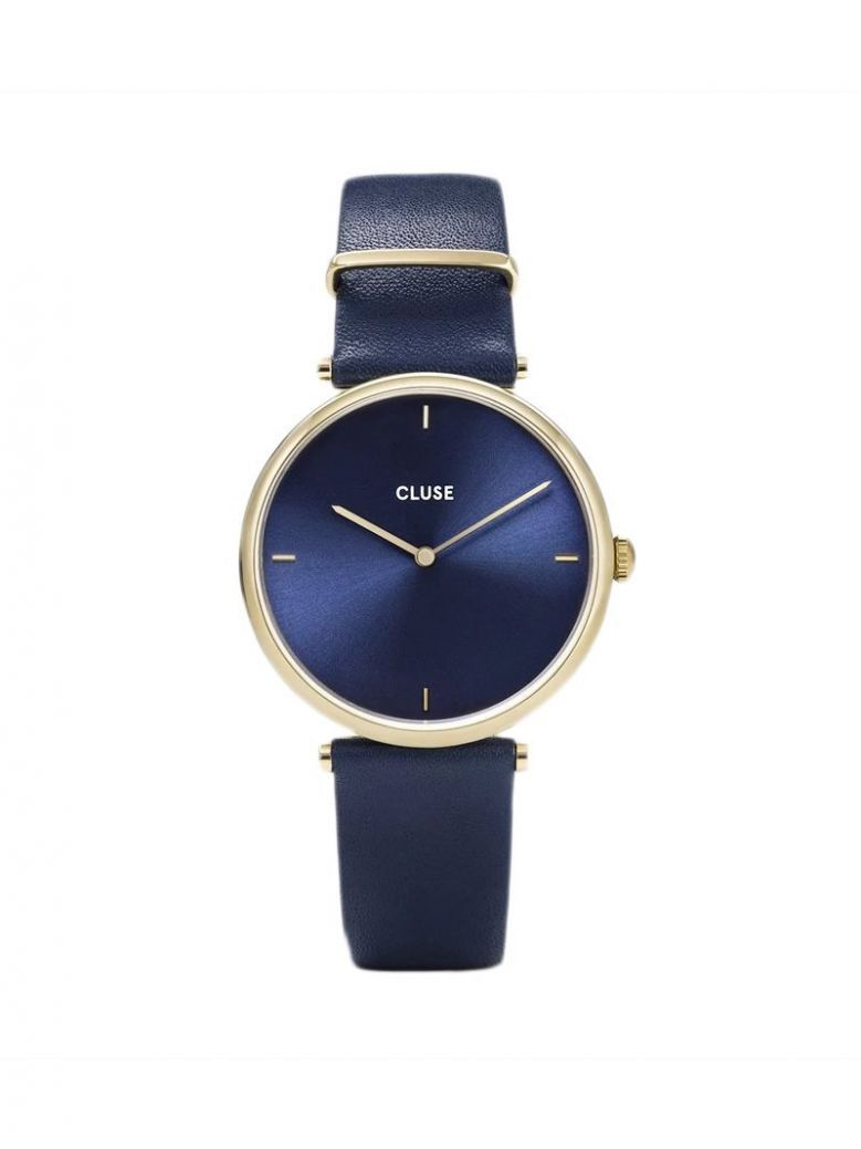 Cluse Blue & Gold Triomphe Leather Strap Watch