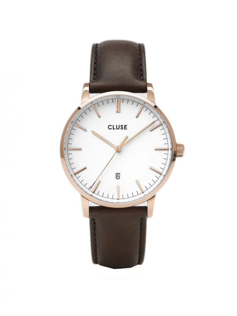 Cluse Rose Gold & Brown Aravis Leather Strap Watch