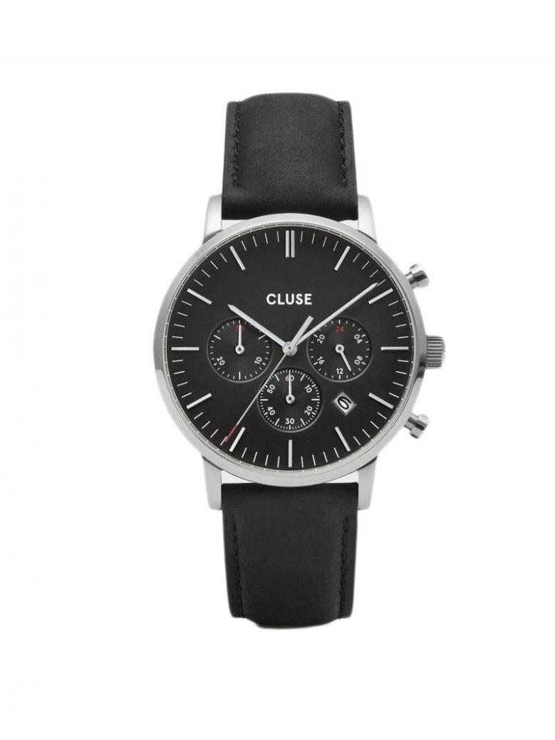 Cluse Black & Silver Aravis Chrono Leather Strap Watch