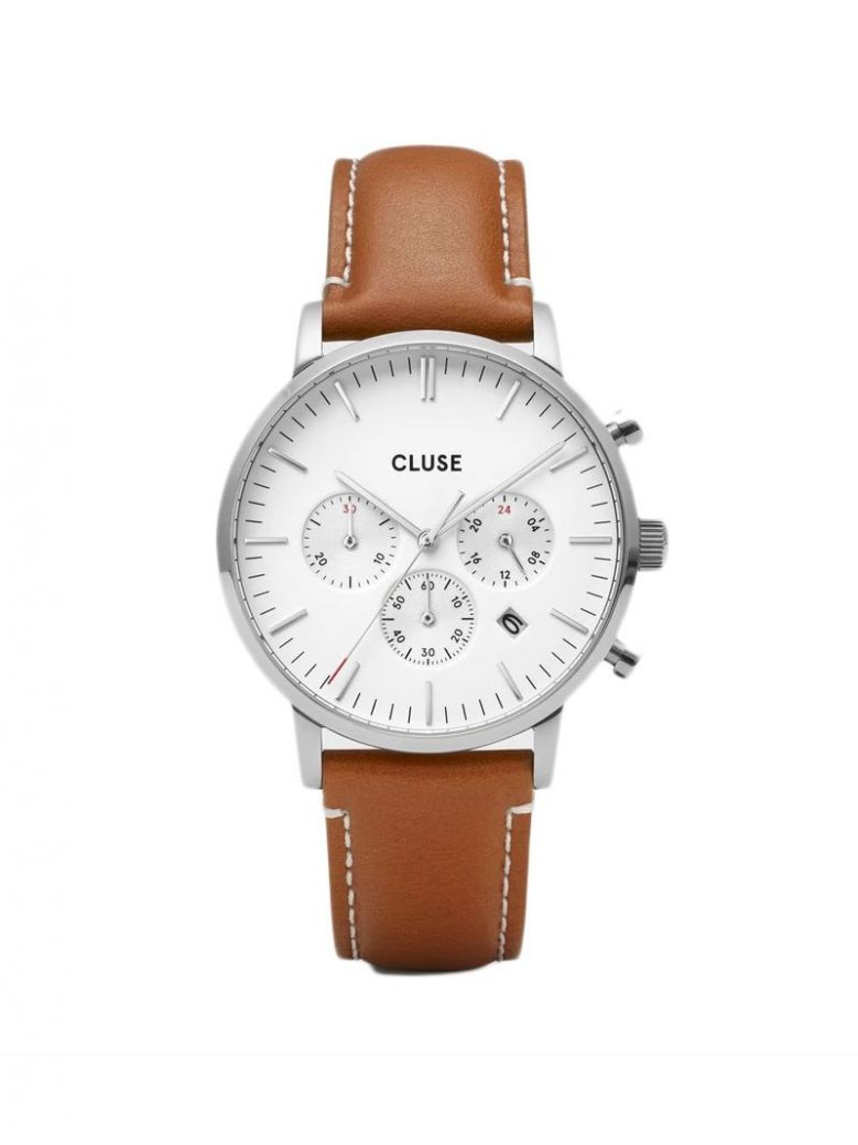 Cluse Light Brown & Silver Aravis Chrono Leather Strap Watch