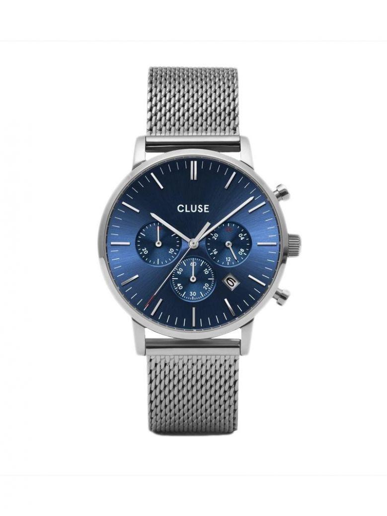 Cluse Silver & Blue Aravis Chrono Mesh Watch