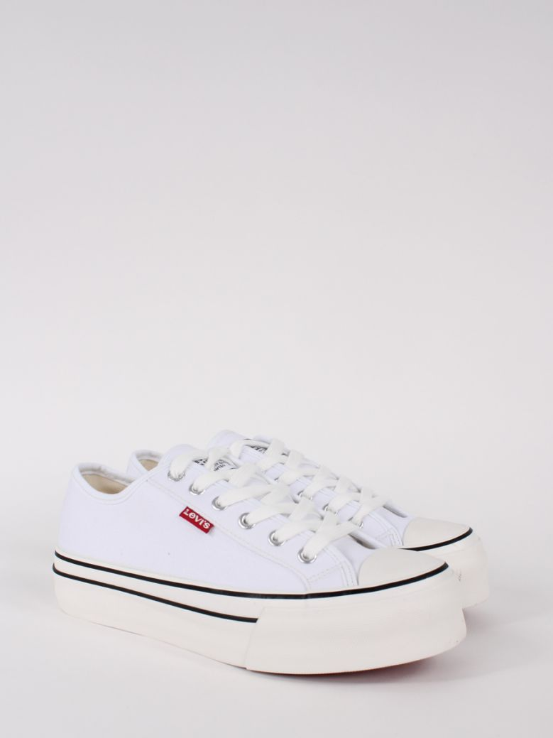 Levis Kids White High Ball Lace Up Trainers