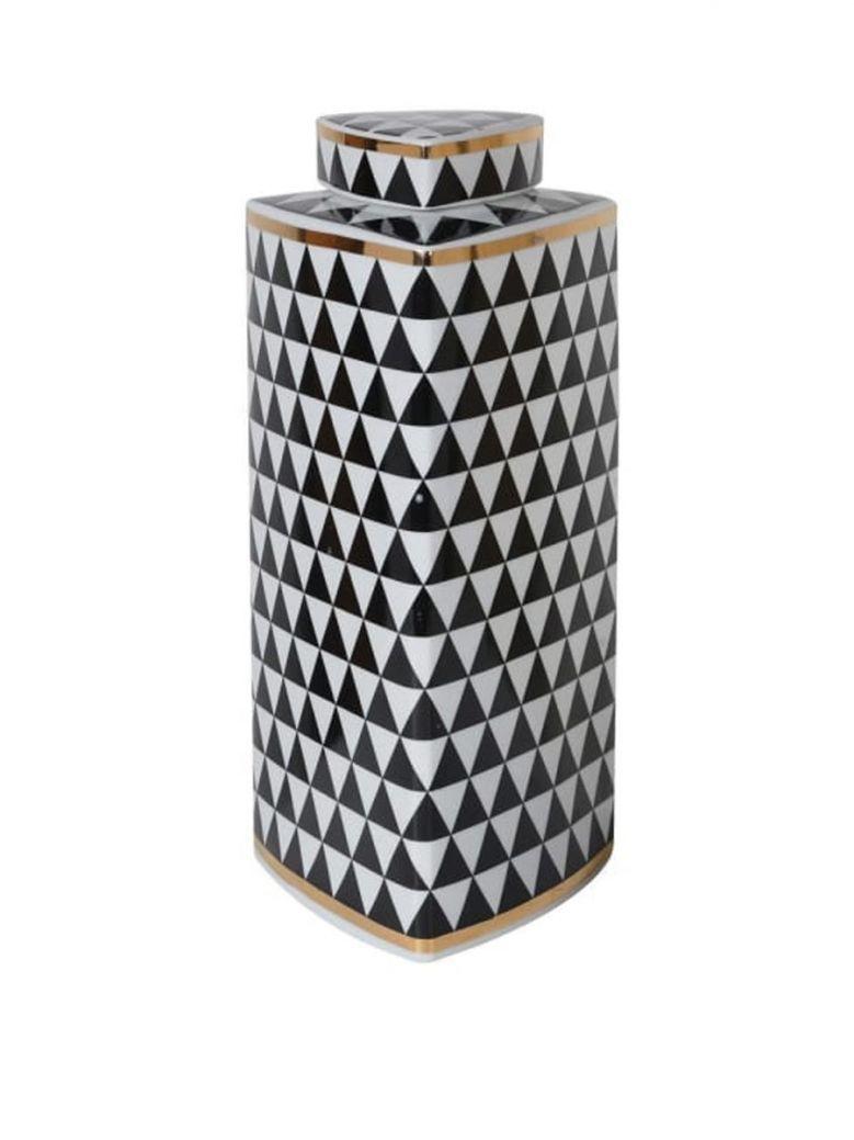Large Black & White Tri Geometric Monochrome Jar