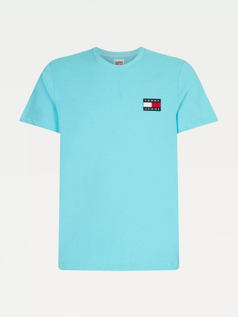 Tommy Jeans Men Chlorine Blue Organic Cotton Jersey Badge T-Shirt
