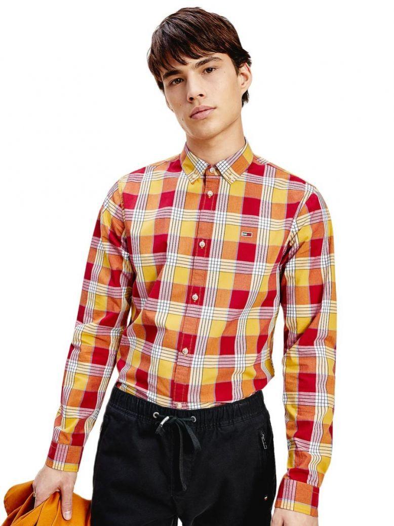 Tommy Jeans Mens Wine Red Check Slim Fit Shirt