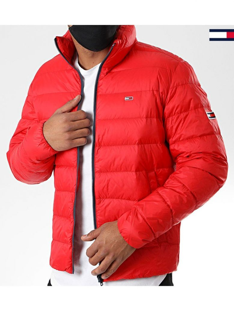 Tommy Jeans Mens Deep Crimson Packable Light Down Jacket