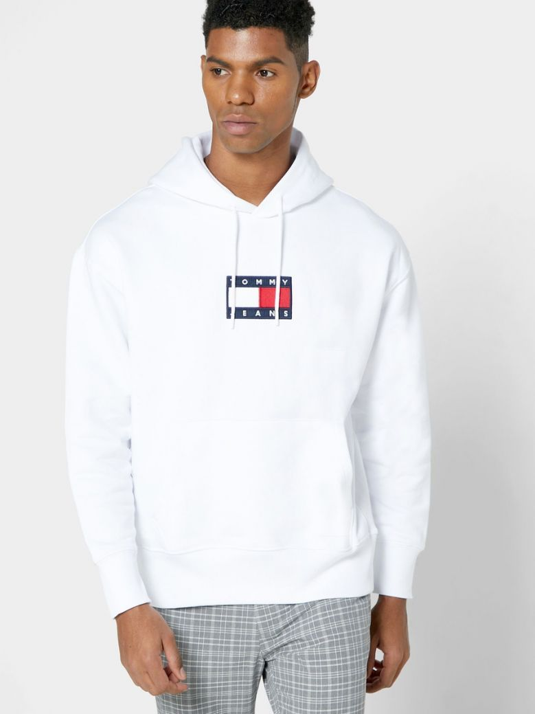 Tommy Jeans Mens White Badge Organic Cotton Fleece