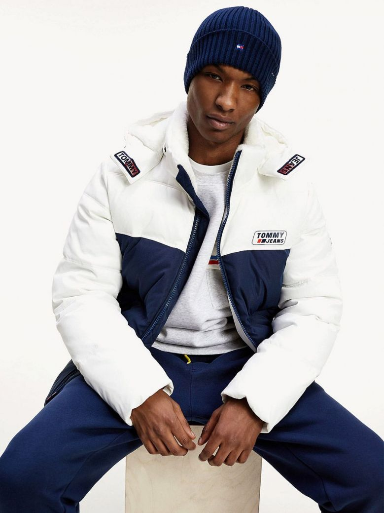 Tommy Jeans White Navy Colour Blocked Hooded Jacket