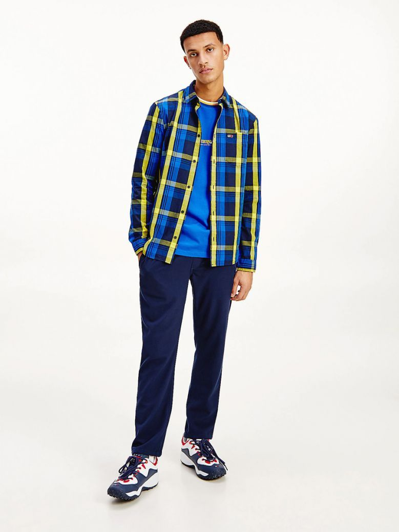 Tommy Jeans Mens Providence Blue Organic Cotton Check Shirt