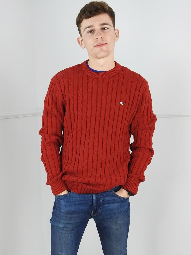 Tommy Jeans Mens Wine Red Essential Cable Knit Jumper