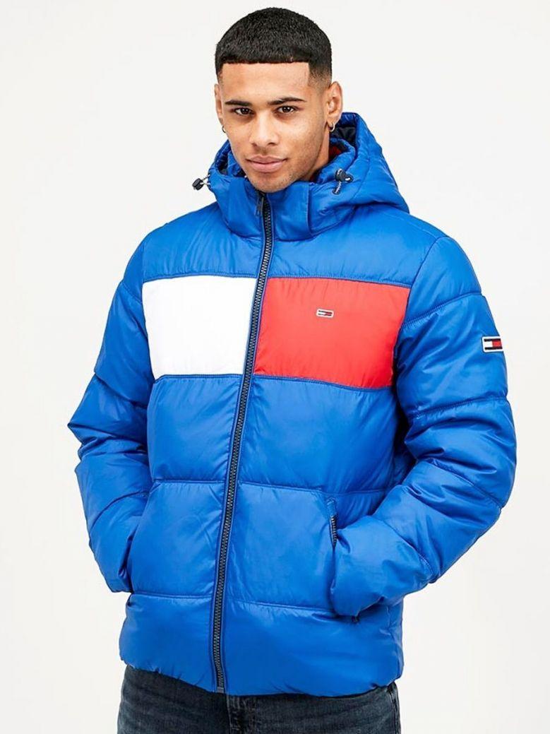 Tommy Jeans Providence Blue Colour Blocked Padded Jacket