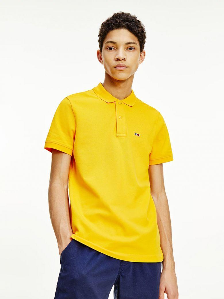 Tommy Jeans Mens Florida Orange Stretch Slim Polo