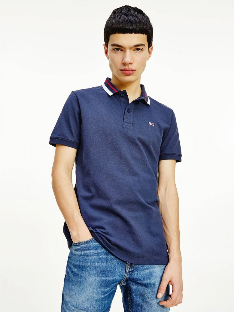 Tommy Jeans Men Twilight Navy Classic Tipped Collar Slim Fit Polo