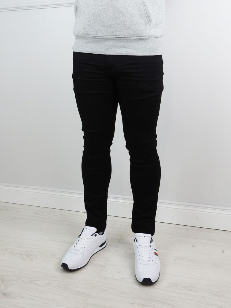 Tommy Jeans Mens New Black Stretch Simon Skinny Fit Jeans